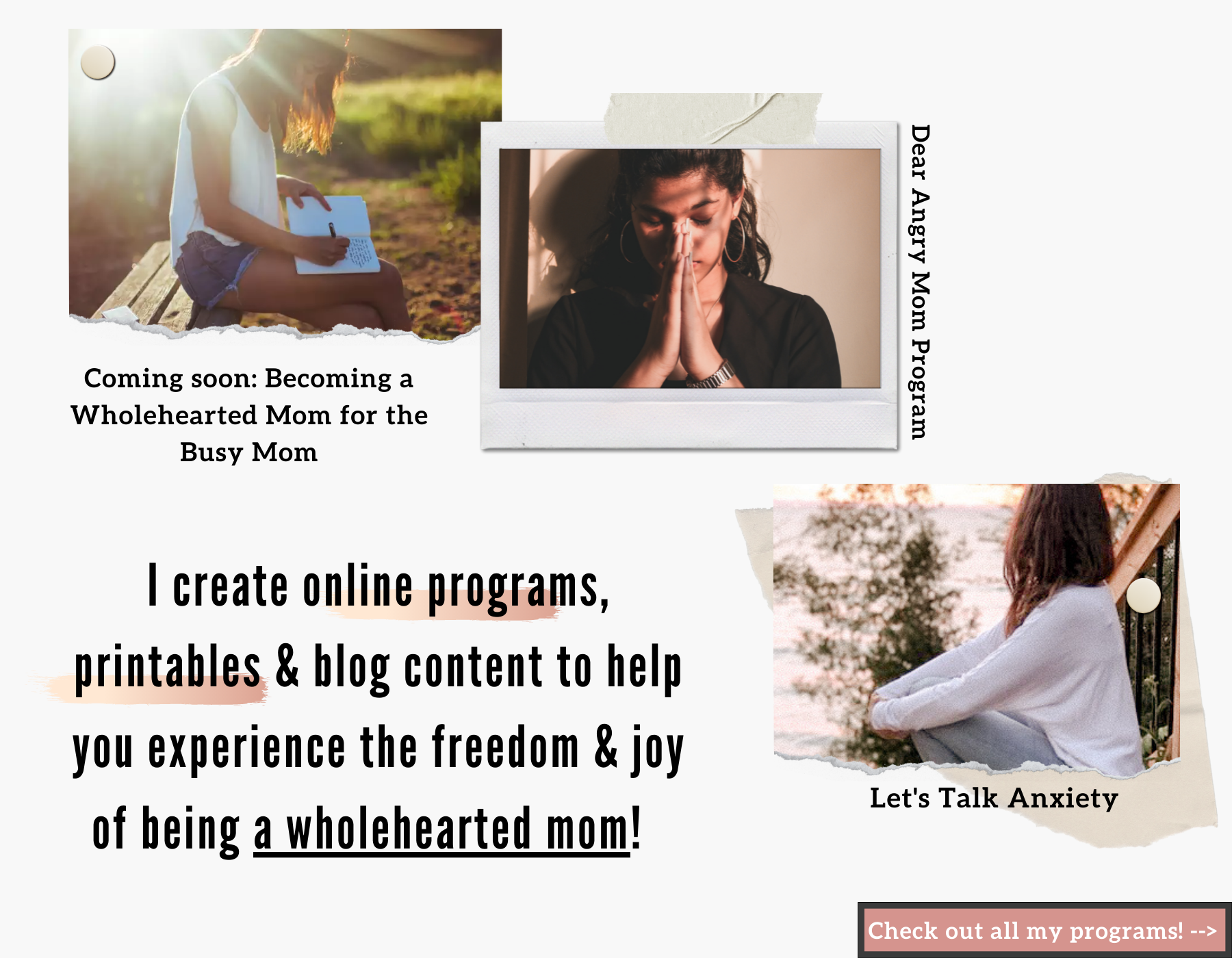 I create online programs, printables, and blog content to help you become a wholehearted mom